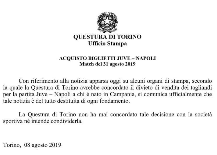 Questura Torino Juve Napoli