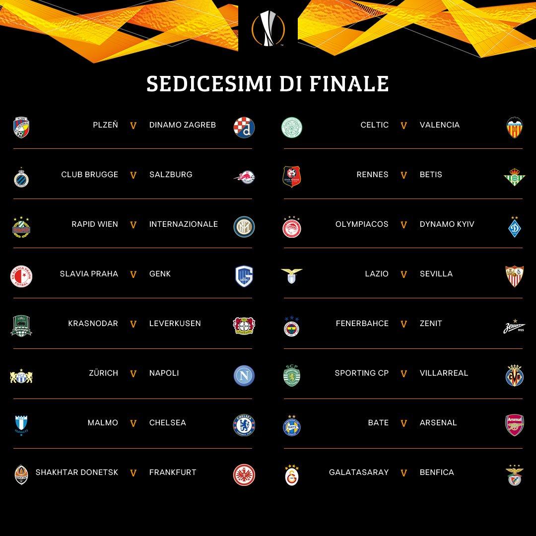 Diretta - Europa League Sedicesimi di Finale Tabellone