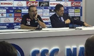 Maurizio Sarri in conferenza stampa al San Paolo