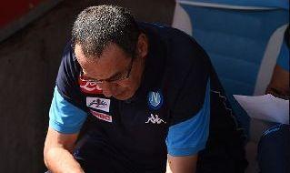 Maurizio Sarri sulla panchina del Napoli