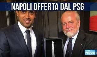 Al-Khelaif, presidente PSG, con De Laurentiis, presidente SSC Napoli