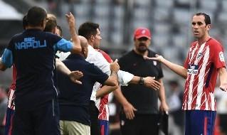 Godin, Simeone e Sarri in Atletico Madrid - Napoli
